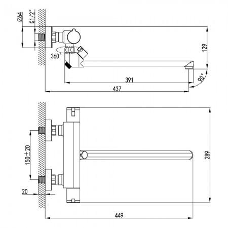 Смеситель LEMARK Yeti LM7834C для ванны термостатический