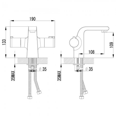 Смеситель LEMARK Yeti LM7836C для раковины термостатический