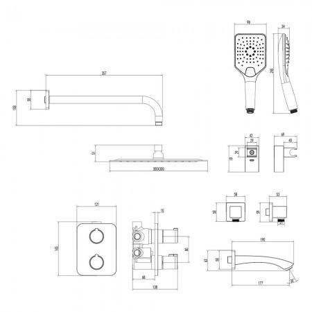 Смеситель LEMARK Yeti LM7842С термостатический для ванны и душа