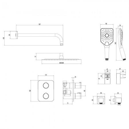 Смеситель LEMARK Yeti LM7849С термостатический для душа встраиваемый