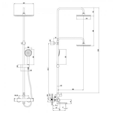 Смеситель LEMARK Yeti LM7862C для ванны и душа термостатический
