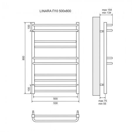 Полотенцесушитель водяной LEMARK Linara LM04810 П10 500x800
