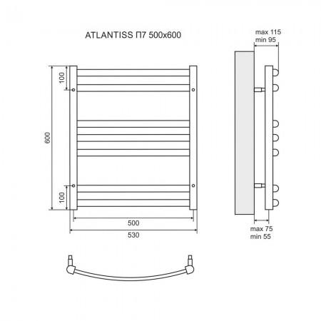 Полотенцесушитель электрический LEMARK Atlantiss LM32607RE П7 500x600