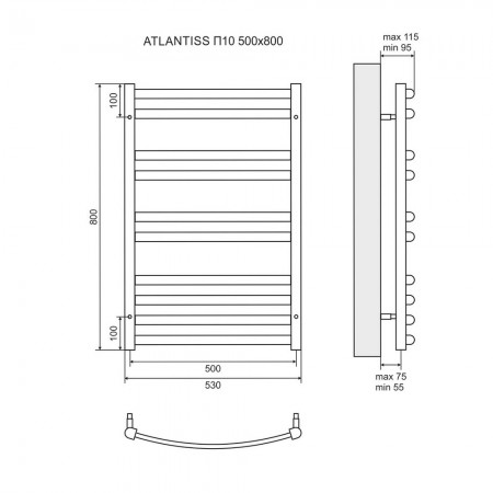 Полотенцесушитель электрический LEMARK Atlantiss LM32810RE П10 500x800