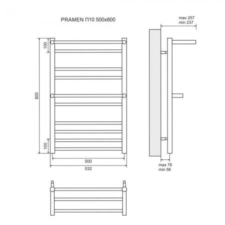 Полотенцесушитель водяной LEMARK Pramen LM33810 П10 500x800