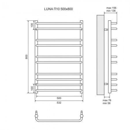 Полотенцесушитель электрический LEMARK Luna LM41810E П10 500x800