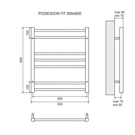 Полотенцесушитель электрический LEMARK Poseidon LM42607E П7 500x600