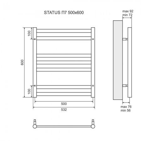 Полотенцесушитель водяной LEMARK Status LM44607 П7 500x600