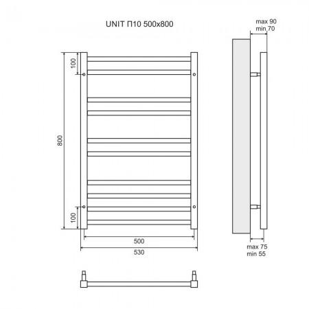 Полотенцесушитель водяной LEMARK Unit LM45810 П10 500x800