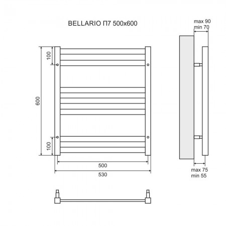Полотенцесушитель электрический LEMARK Bellario LM68607E П7 500x600