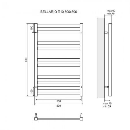 Полотенцесушитель электрический LEMARK Bellario LM68810EBL П10 500x800 левый/правый черный