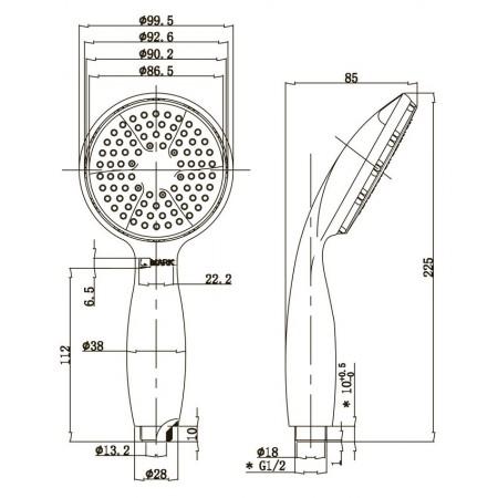 Лейка душевая LEMARK LM8001C 1-функциональная