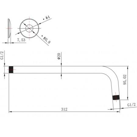 Держатель настенный LEMARK LM8029C для лейки верхнего душа