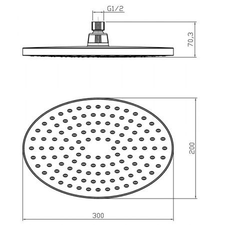 Лейка LEMARK LM8037C для верхнего душа 1-функциональная