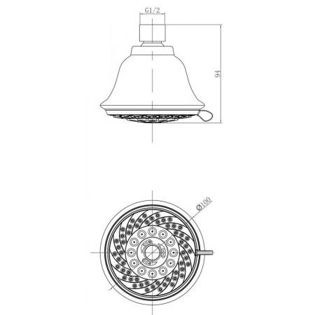 Лейка LEMARK LM8040C для верхнего душа 5-функциональная