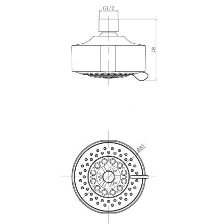 Лейка LEMARK LM8041C для верхнего душа 5-функциональная
