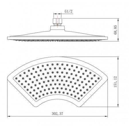 Лейка LEMARK LM8044C для верхнего душа 1-функциональная