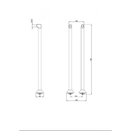 Комплект колонн LEMARK LM8565B для установки смесителя на пол ванны