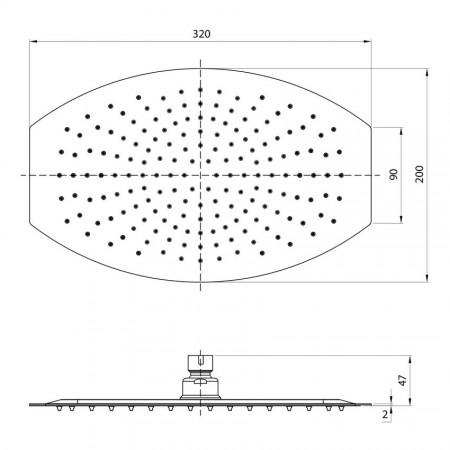 Лейка LEMARK LM9485S для верхнего душа 1-функциональная